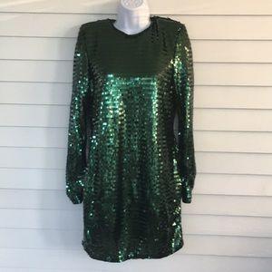 H&M sequins green mini dress